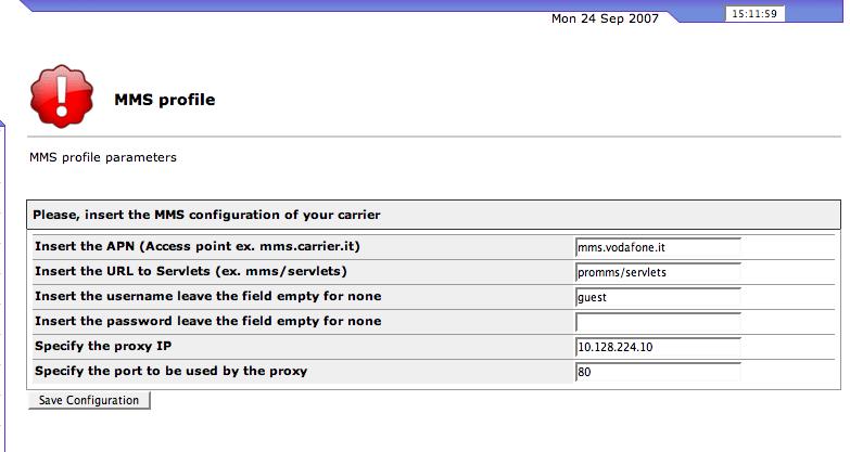 MMS FOXBOX configuration screenshoot